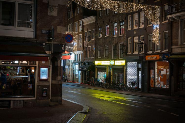 Amsterdam Netherlands Houses Street Night Cities wallpaper