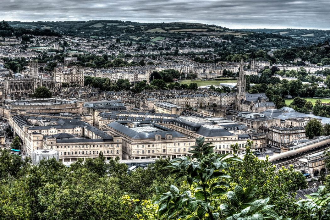 England Houses From above HDR Bath Cities wallpaper