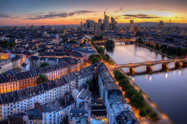 Evening Bridges Rivers Houses Germany Frankfurt Cities wallpaper