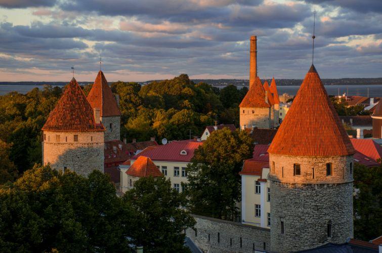 Estonia Houses Fortress Trees Tallinn Cities wallpaper