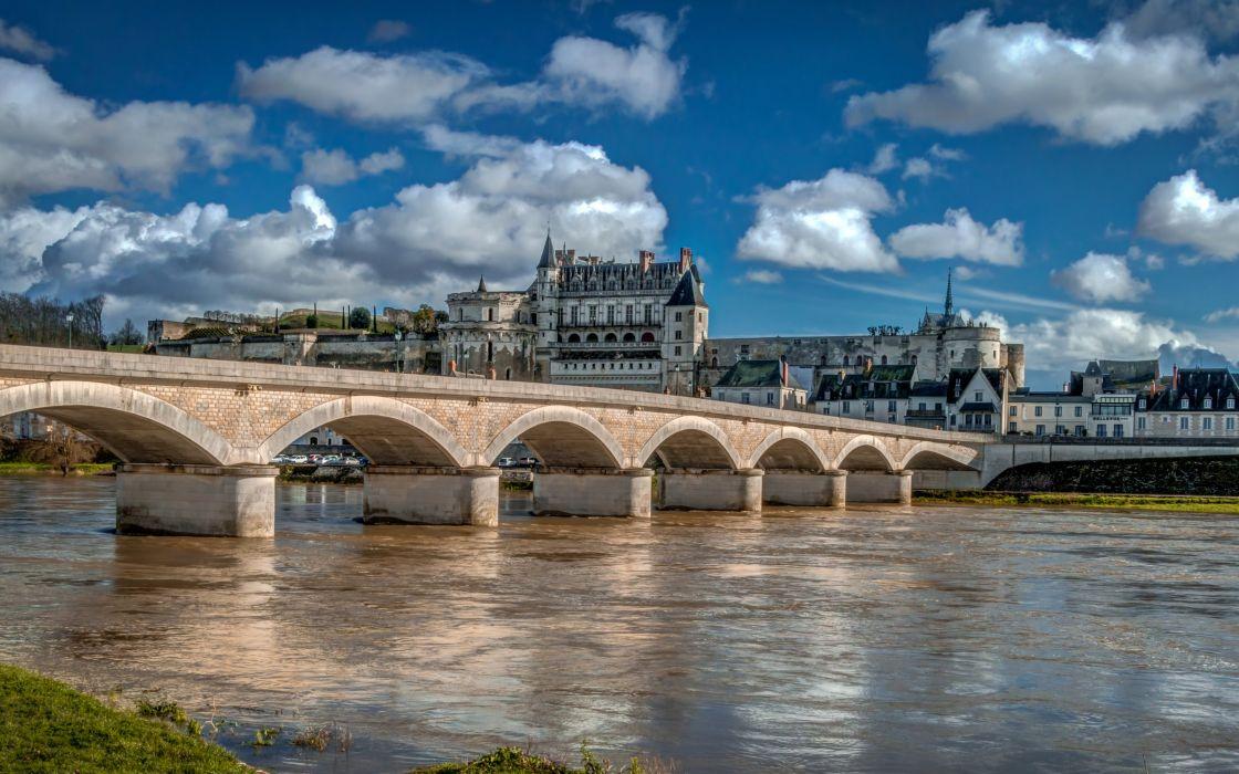 France Houses Castles Rivers Bridges Clouds Amboise Cities wallpaper