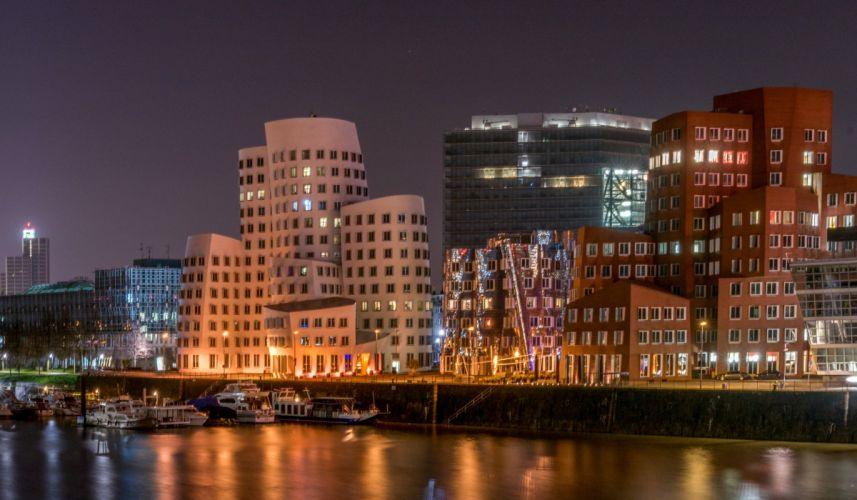 Germany Houses Rivers Marinas Night Dusseldorf Cities wallpaper