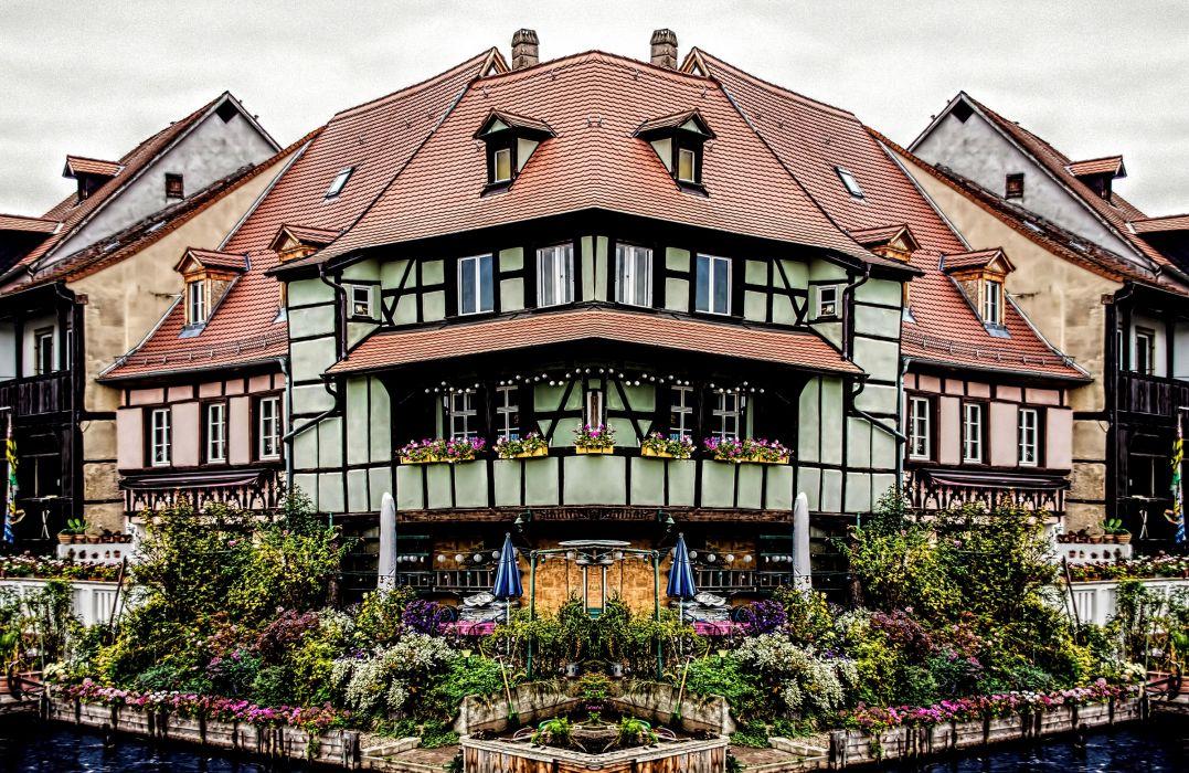 Germany Houses Bavaria Shrubs Bamberg Cities wallpaper