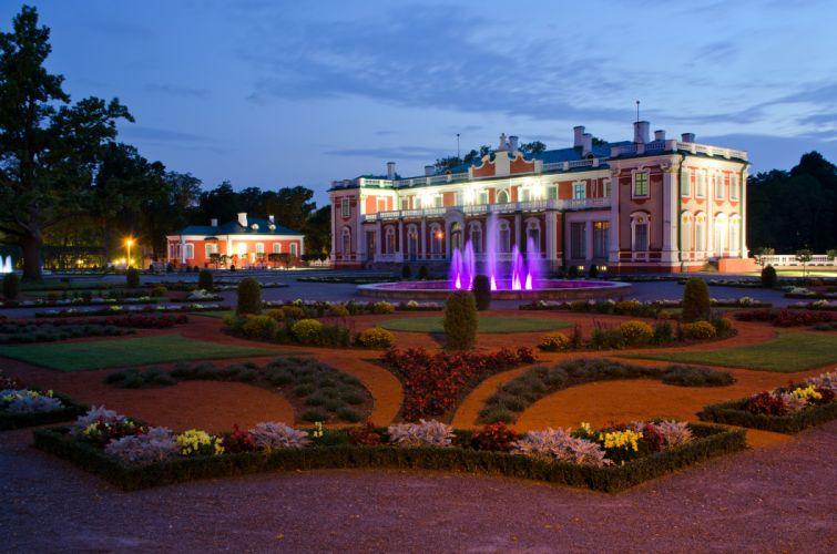 Estonia Fountains Palace Night Lawn Kadriorg (Catharinenthal) palace Tallinn Cities wallpaper