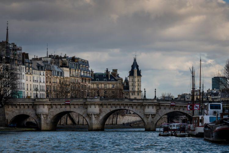 France Houses Rivers Bridges Evening Paris Cities wallpaper