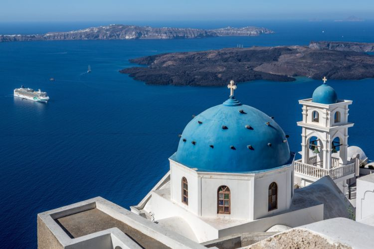 Greece Houses Sea Imerovigli Santorini Aegean Church of Ai-Stratis Cities wallpaper
