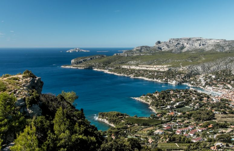 France Coast Houses Marinas Cassis Cities wallpaper