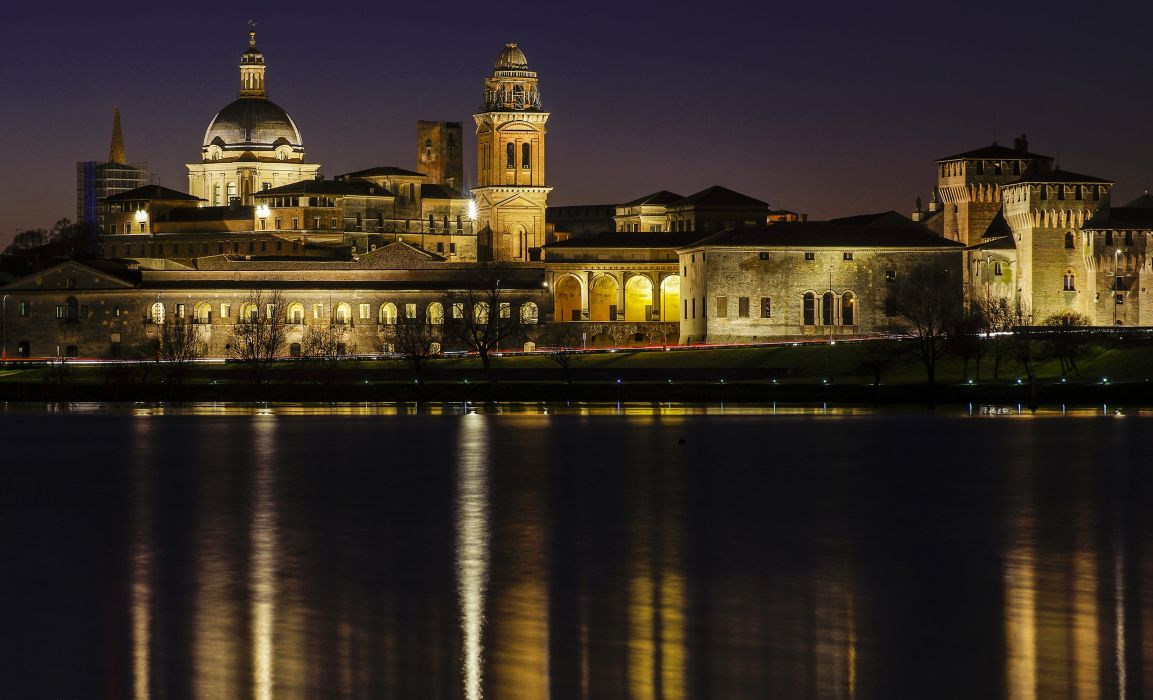 Italy Houses Rivers Night Mantua Lombardy Cities wallpaper