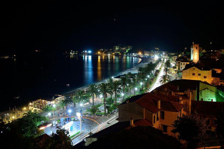 Italy Houses Roads Coast Night Street lights Palma Savona Cities wallpaper