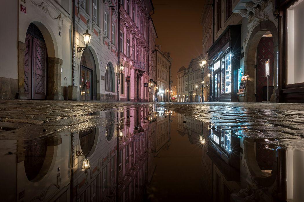 Prague Czech Republic Houses Street Night Street lights Puddle Cities wallpaper