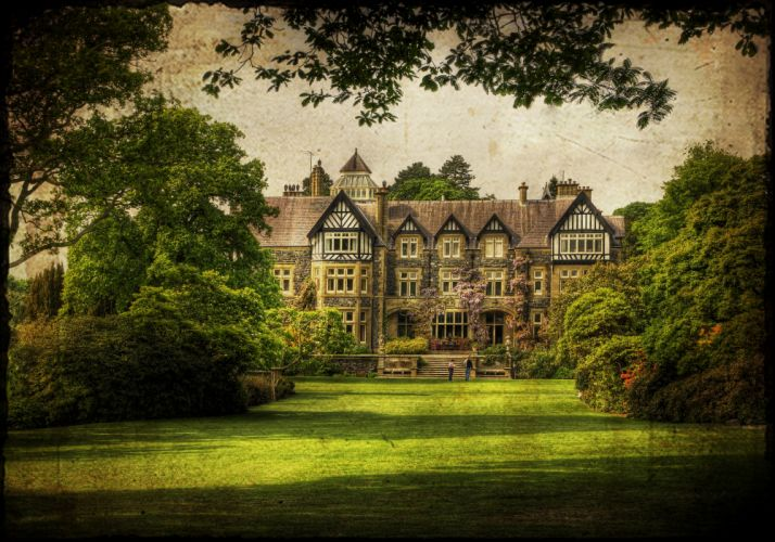 United Kingdom Houses Parks Lawn Shrubs Bodnant Gardens Wales Cities wallpaper