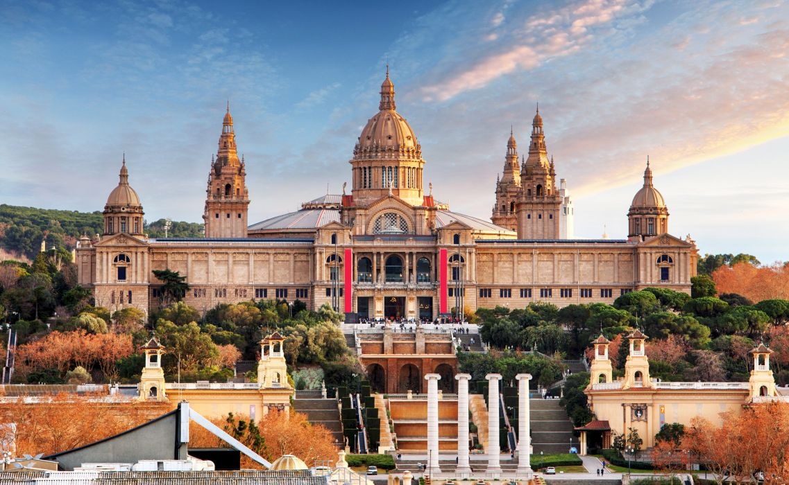 Spain Houses Barcelona Design Stairs National Museum Cities wallpaper