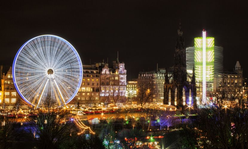 Scotland Houses Night Ferris wheel Edinburgh Cities wallpaper