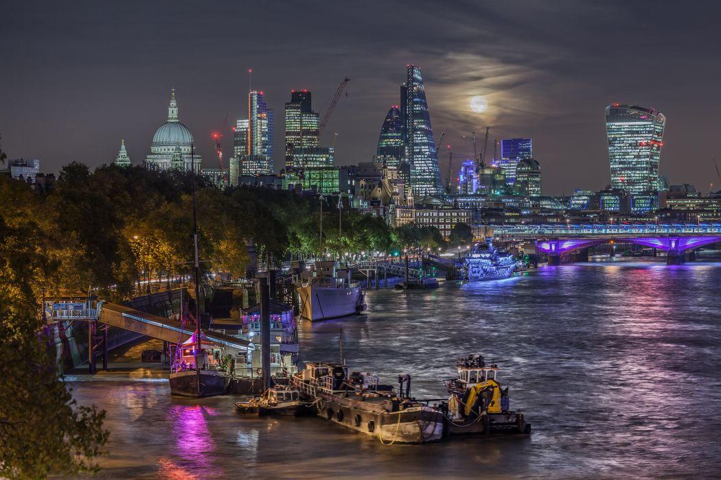 United Kingdom Houses Rivers Marinas Ships HDR London Night Cities wallpaper