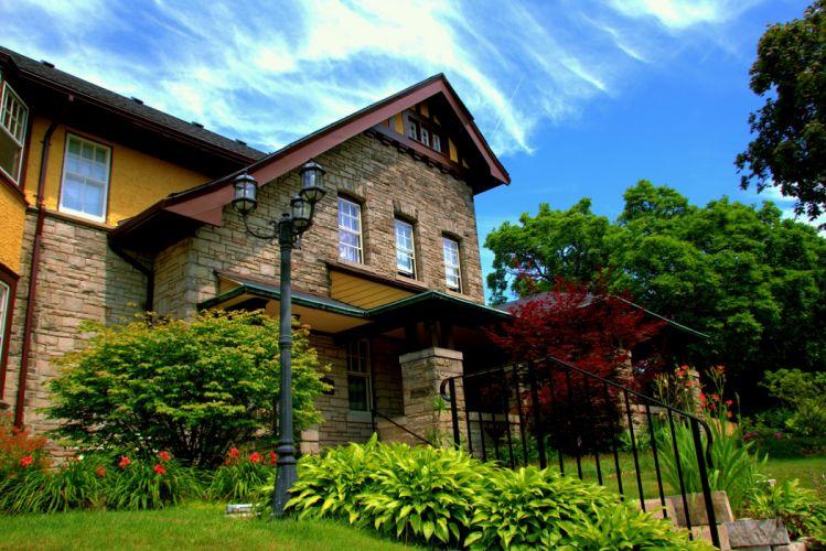 Canada Houses Design Shrubs Street lights Catharines Ontario Cities wallpaper