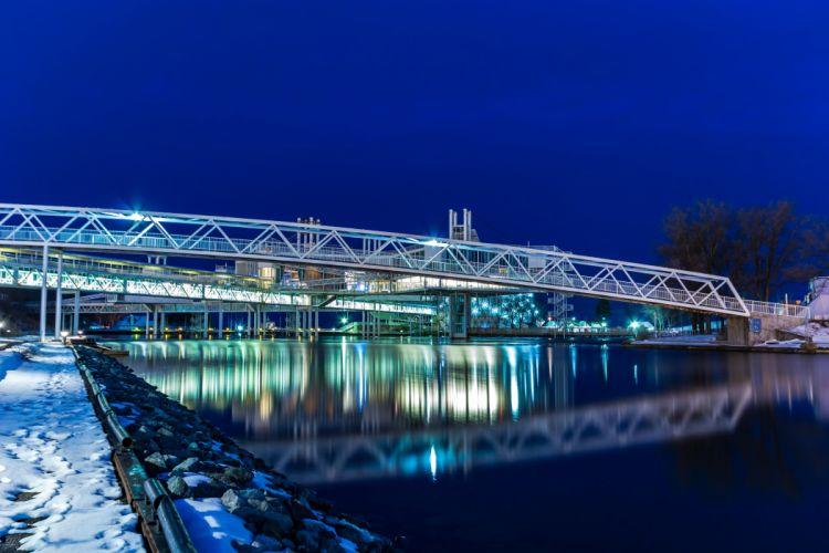 Canada Rivers Bridges Winter Night Ontario Cities wallpaper
