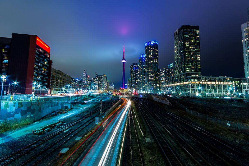 Canada Houses Roads Night Toronto Cities wallpaper