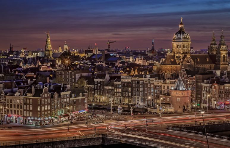 Houses Netherlands Amsterdam Night Cities wallpaper