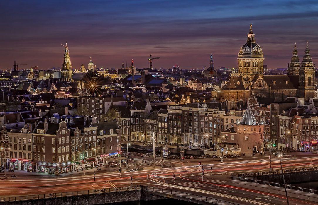 Houses Netherlands Amsterdam Night Cities wallpaper