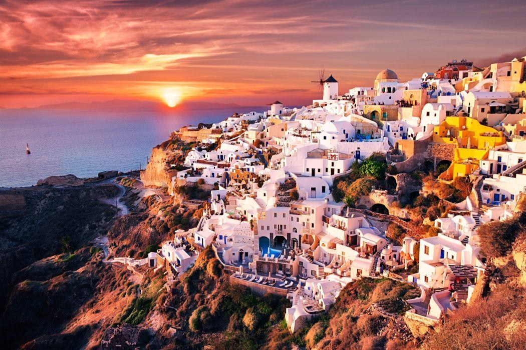 Houses Greece Oia Santorini Cities wallpaper