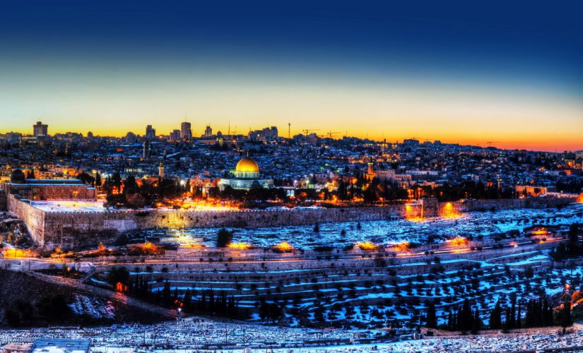 Israel Houses Temples Winter Night Street lights Jerusalem Cities wallpaper