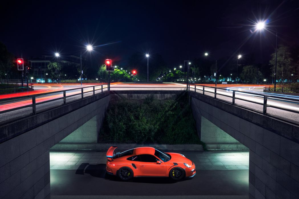 Porsche Roads Pink color Night Street lights 2015 Porsche 911 GT3 RS UK-spec (991) Cars Cities wallpaper