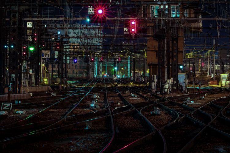 Railroad Night Cities wallpaper