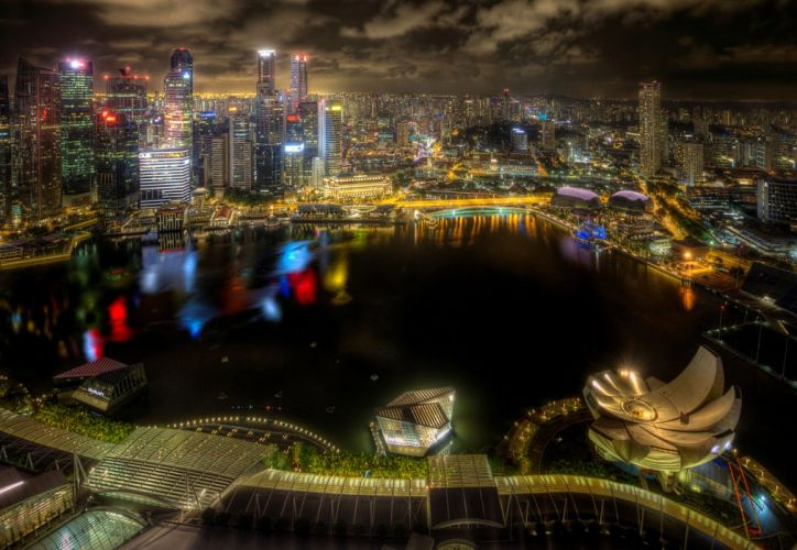 Singapore Houses Skyscrapers Night Cities wallpaper
