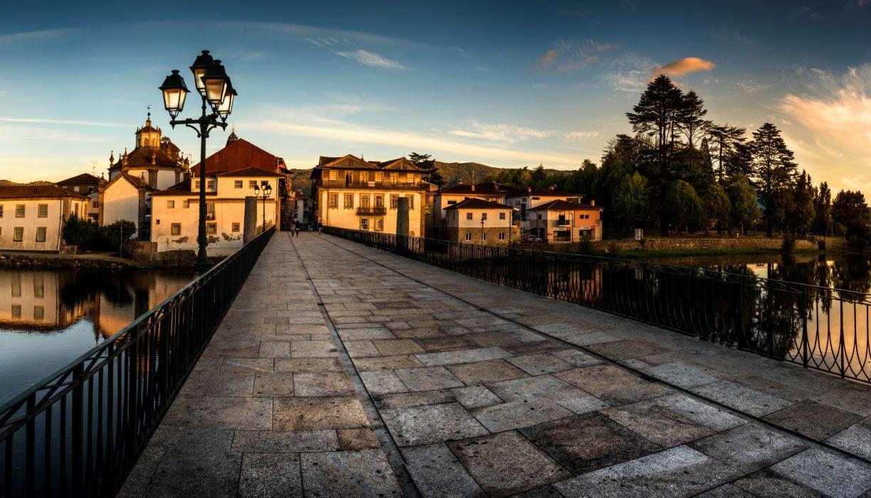 Portugal Houses Bridges Evening Street lights Roman Bridge Chaves Cities wallpaper