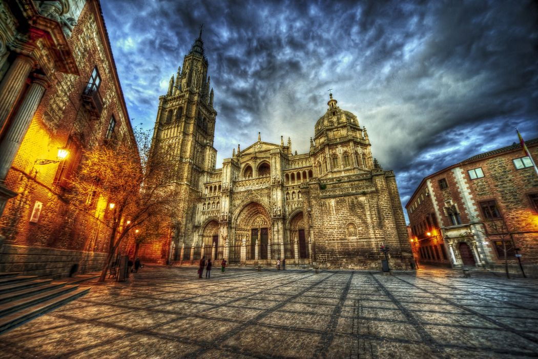 Spain Temples HDR Street Night Street lights Catedral de Santa Maria Toledo Cities wallpaper