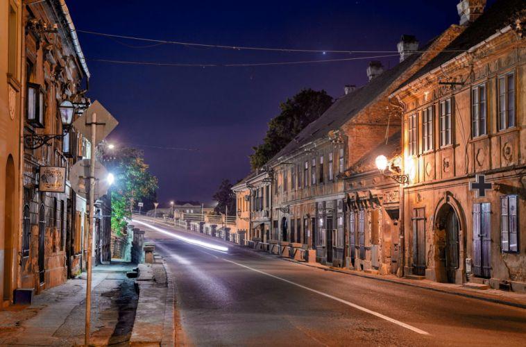 Houses Roads Serbia Street Night Street lights Novi Sad Cities wallpaper