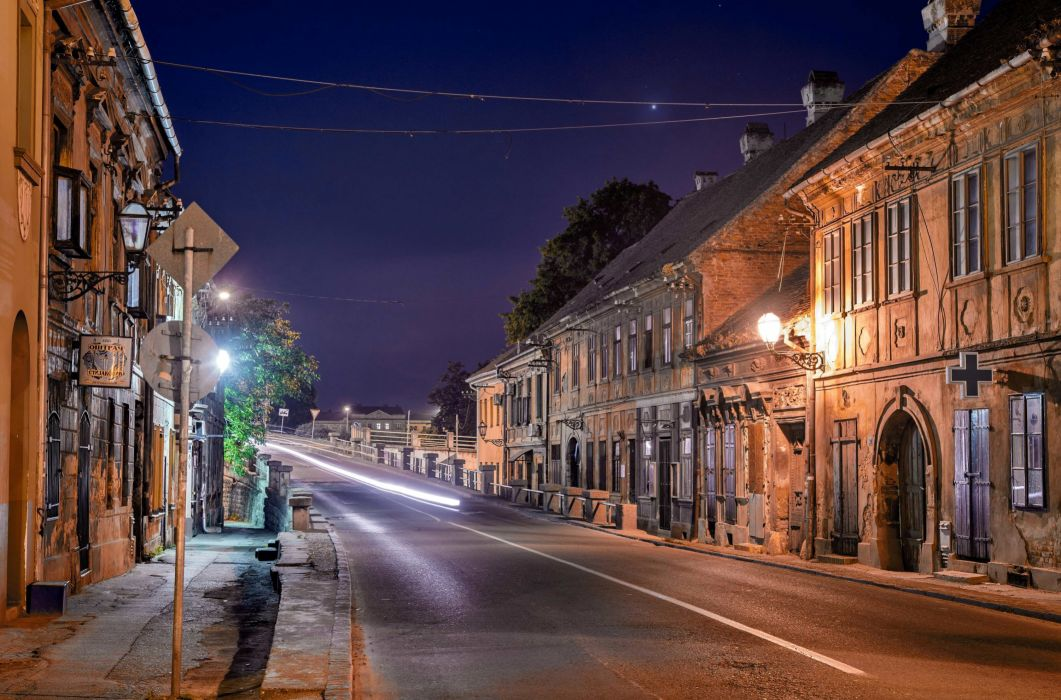 Houses Roads Serbia Street Night Street lights Novi Sad Cities wallpaper