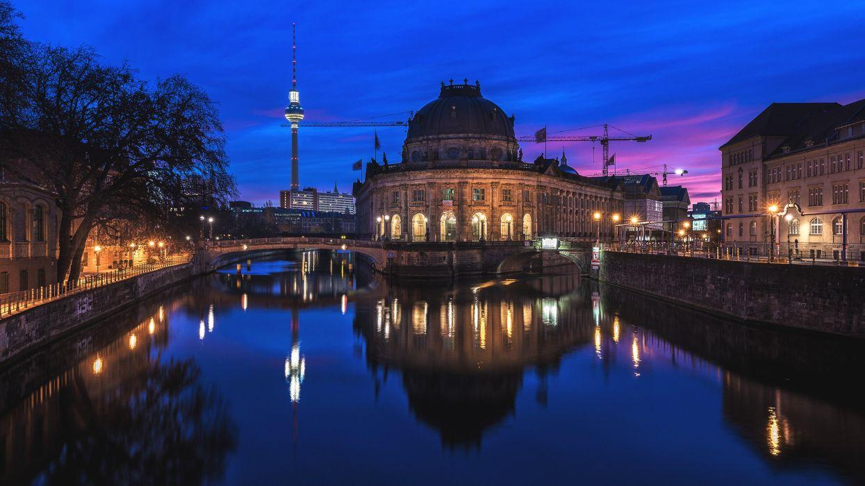 Berlin Germany Houses Rivers Bridges Night Bode Museum Cities wallpaper