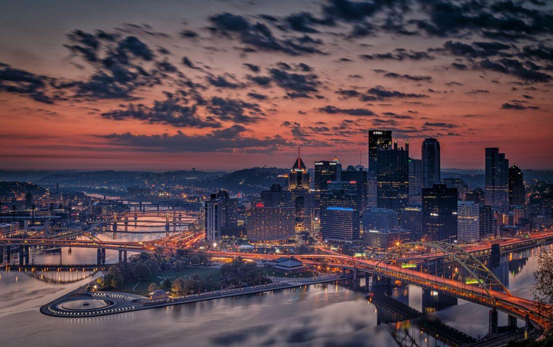 Evening Bridges Houses USA Clouds Pennsylvania Pittsburgh Cities wallpaper