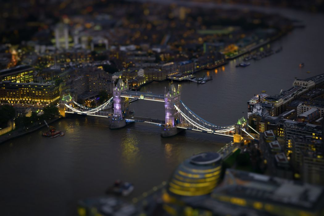 Bridges Rivers From above Night London Tiltshift Cities wallpaper