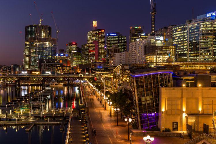 Australia Houses Marinas Sydney Street Night Street lights Cities wallpaper