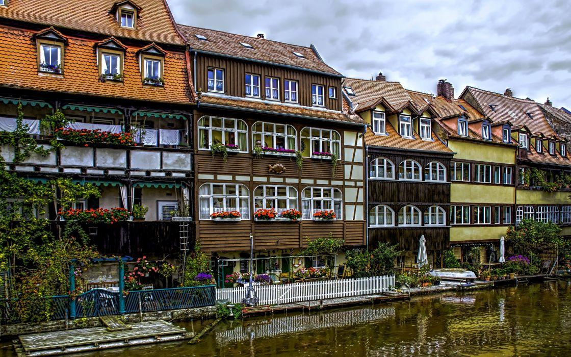 Germany Houses Rivers Marinas Bavaria Bamberg Cities wallpaper