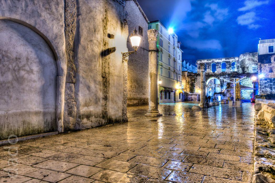 Croatia Houses Street Night Street lights HDR Split Cities wallpaper