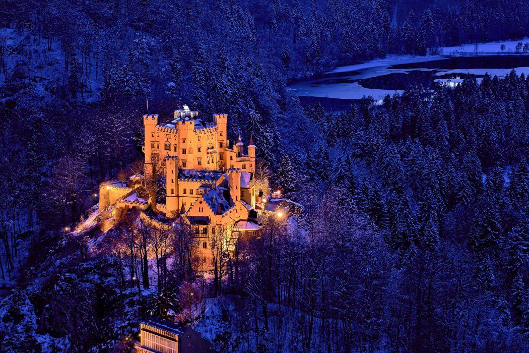 Germany Castle Forests Winter Night Street lights Hohenschwangau Cities wallpaper