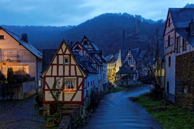 Germany Houses Rivers Night Monreal Cities wallpaper