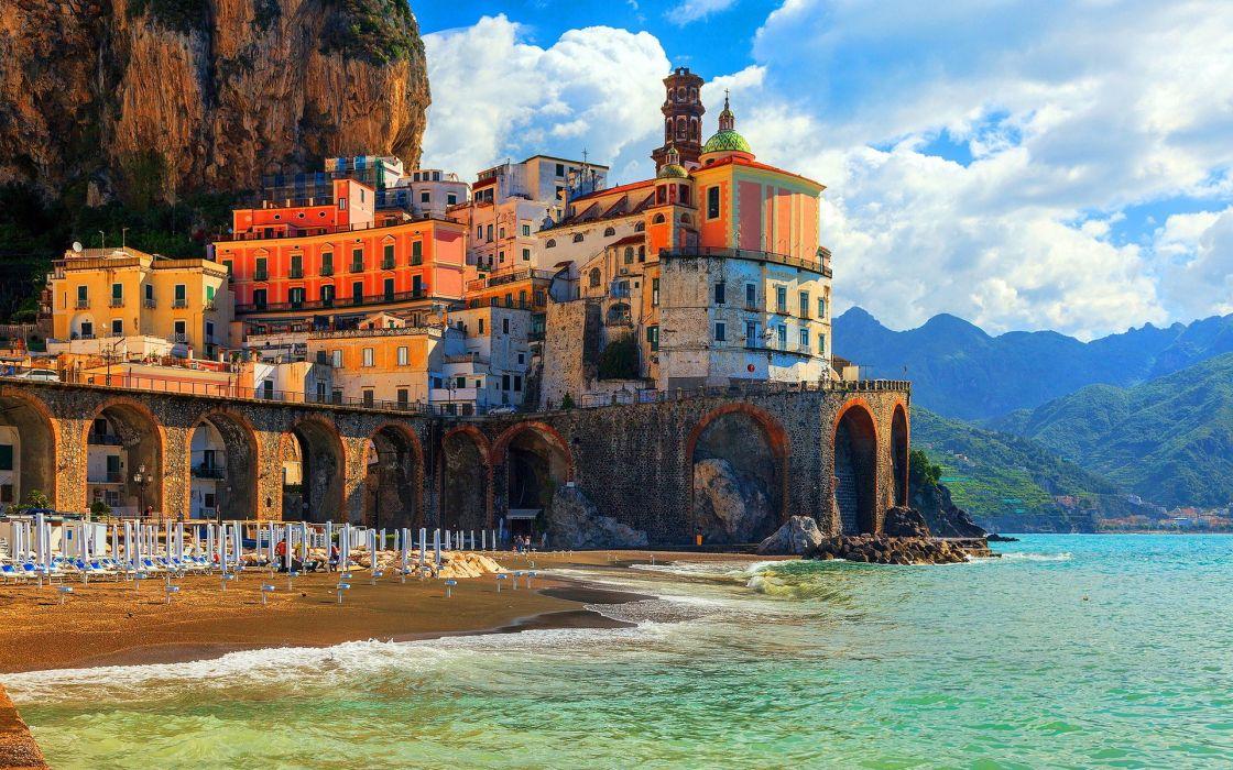 Coast Houses Italy Positano Amalfi Cities wallpaper