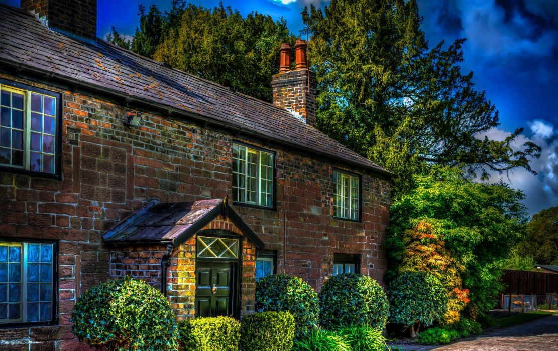 England Houses HDR Trees Shrubs Liverpool Cities wallpaper