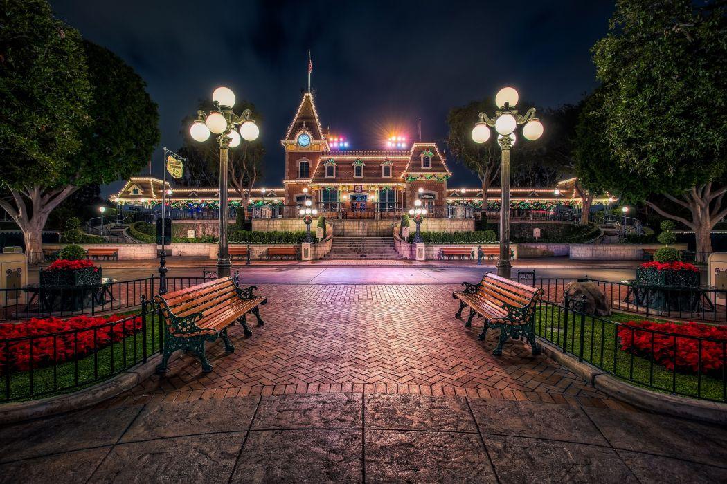 Disneyland USA Street lights Bench California Anaheim Cities wallpaper