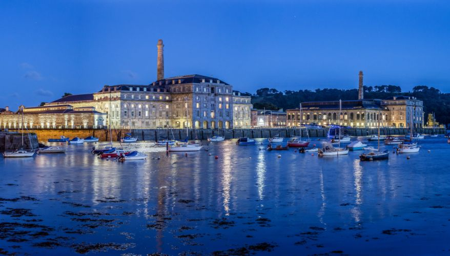 England Houses Rivers Ships Evening Plymouth Cities wallpaper