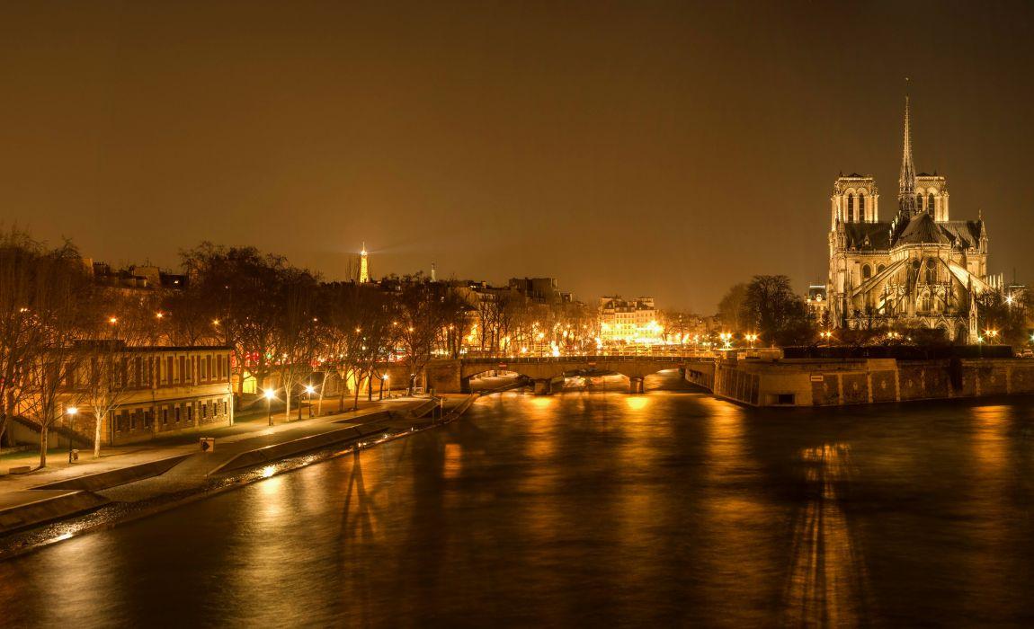 France Temples Houses Rivers Bridges Paris Night Street lights Cities wallpaper