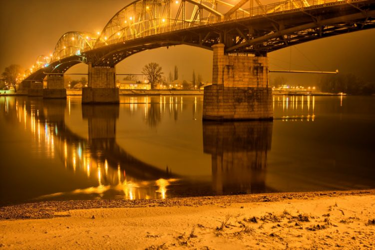 Hungary Rivers Bridges Night Street lights Gran Cities wallpaper