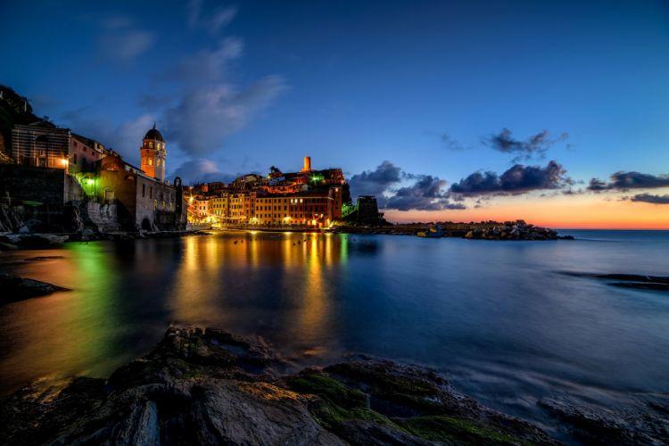 Italy Houses Sea Sky Night Vernazza Cities wallpaper