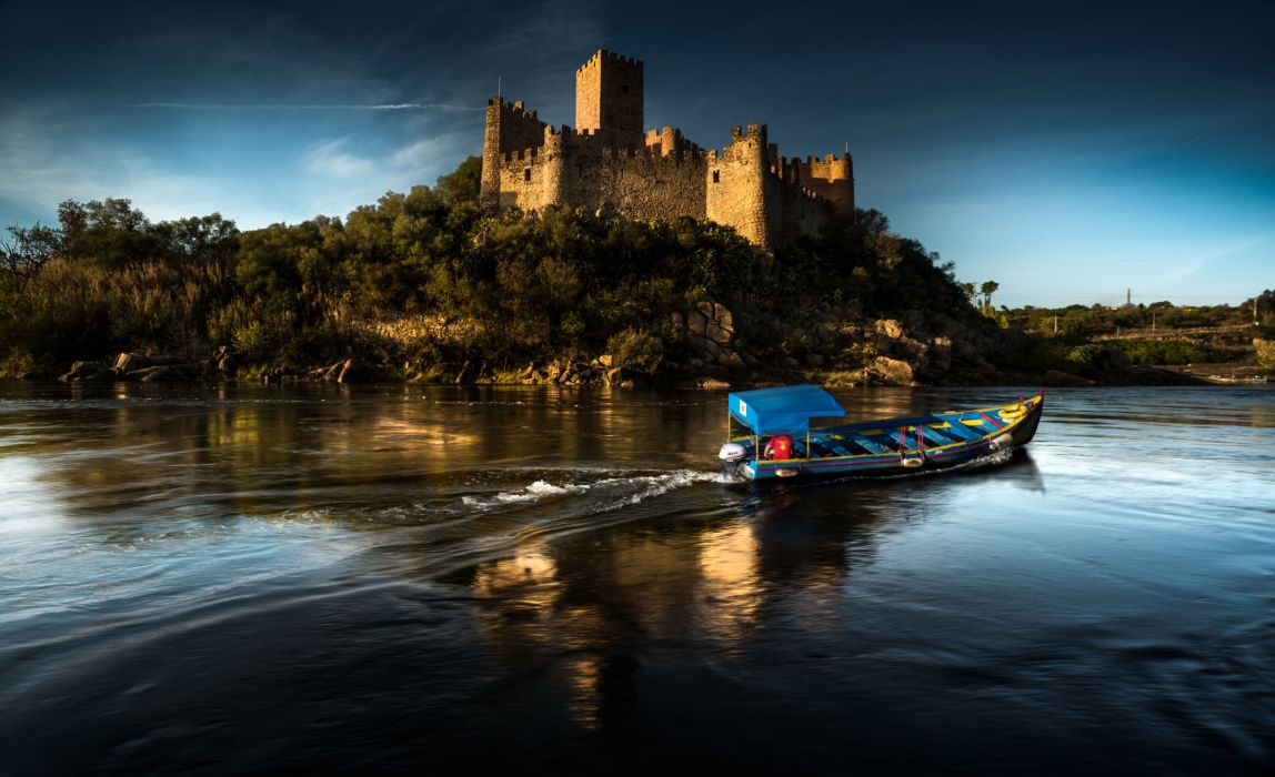 Portugal Castles Rivers Boats Almourol Castle Cities wallpaper
