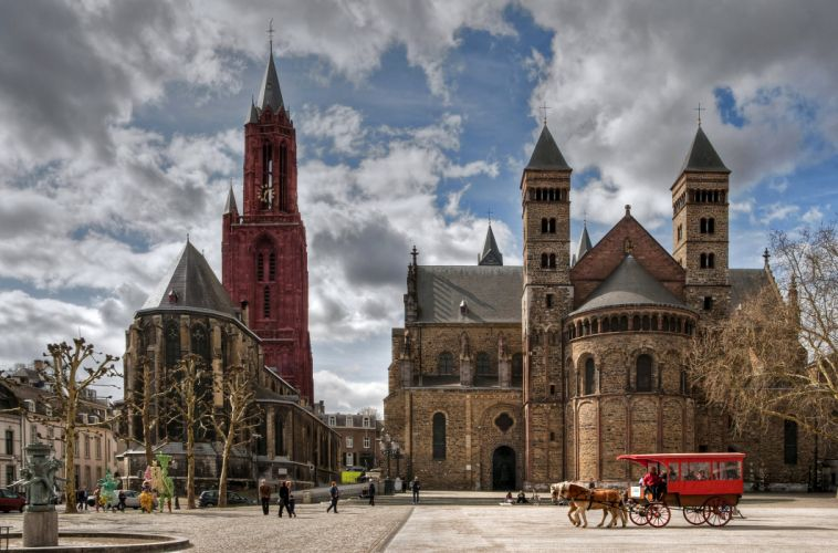 Netherlands Houses Temples Street Carriage Clouds Maastricht Cities wallpaper