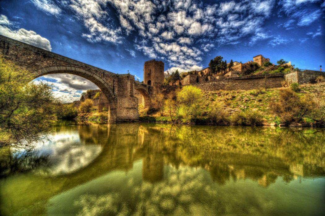Spain Houses Rivers Bridges HDR Clouds Toledo Cities wallpaper